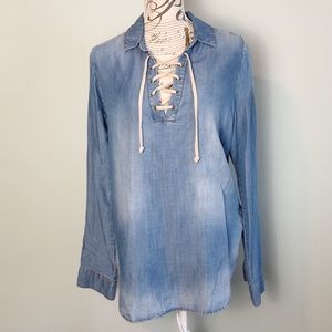 Cloth & Stone Anthropologie tencel Top lace up